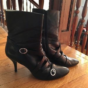 DKNY Black Leather Boots Size 10